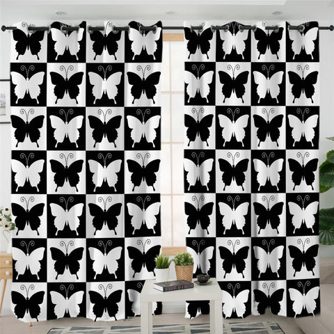 Image of Checkerboard Butterflies Themed 2 Panel Curtains