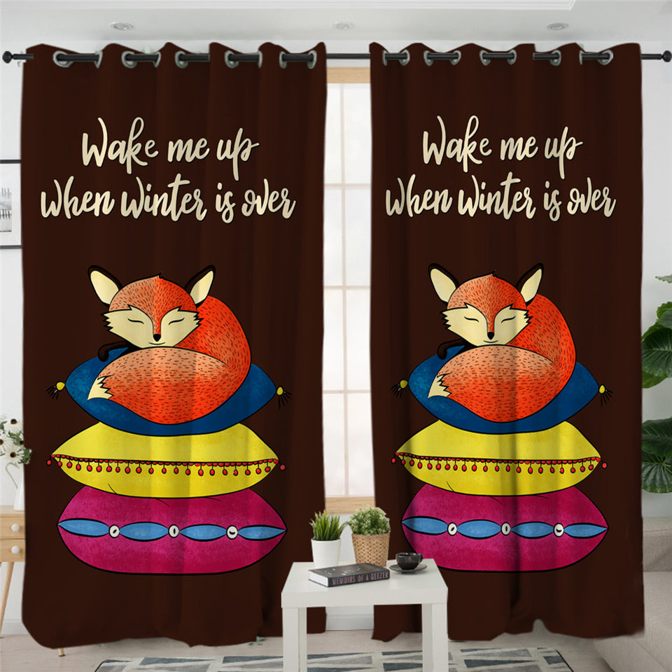 Sleeping Fox Themed 2 Panel Curtains