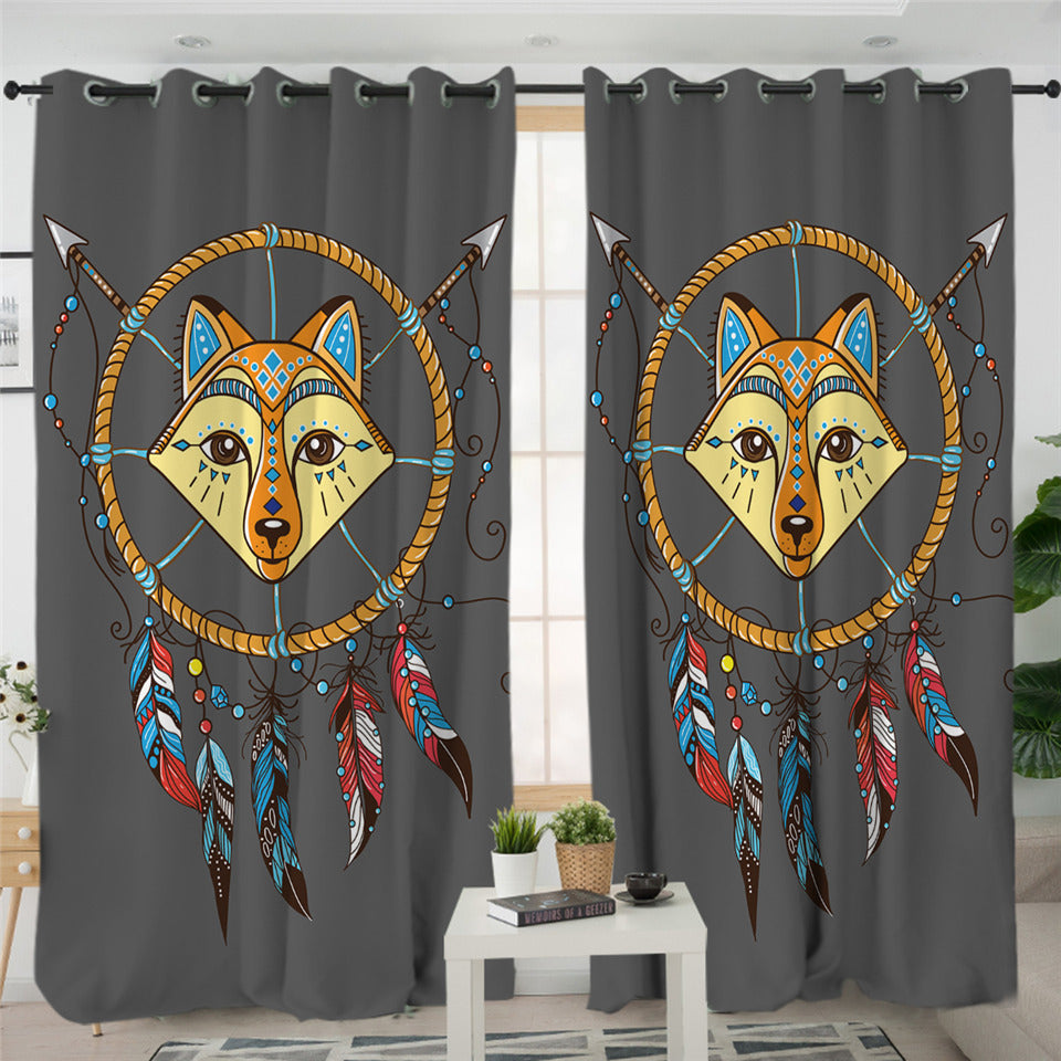 Cartoon Fox Dream Catcher 2 Panel Curtains