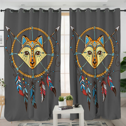 Image of Cartoon Fox Dream Catcher 2 Panel Curtains