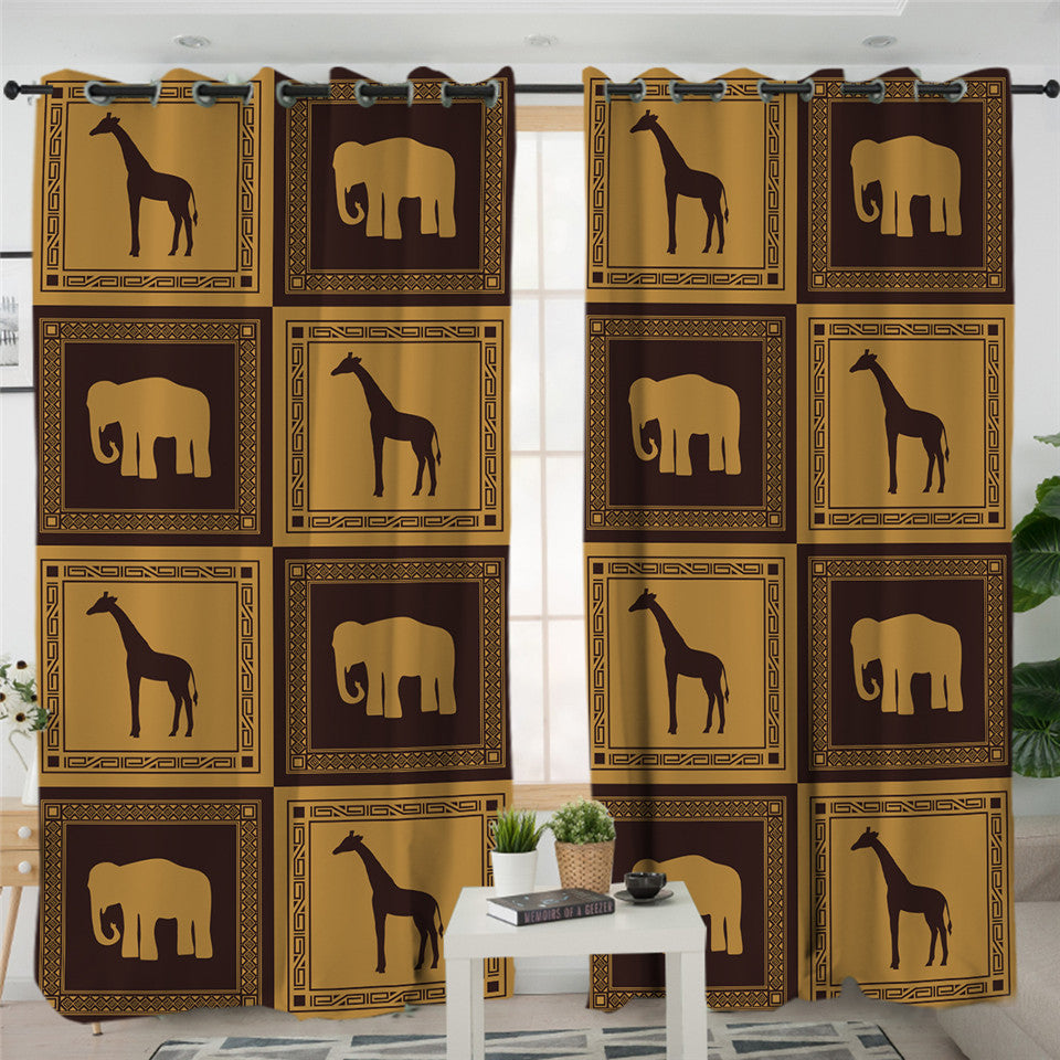 Giraffe & Elephant Boxes 2 Panel Curtains