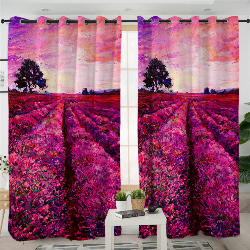 Lavender Fields Sunset 2 Panel Curtains