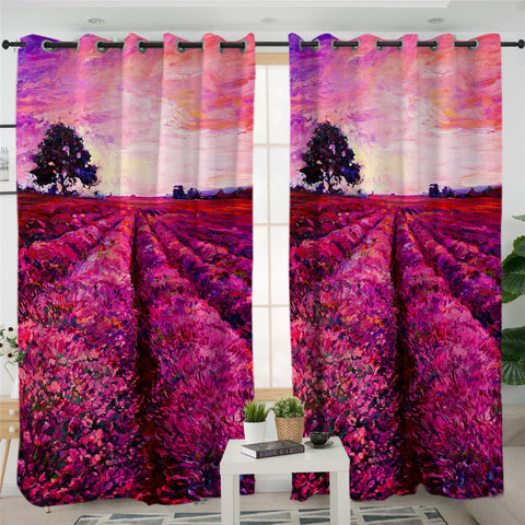 Image of Lavender Fields Sunset 2 Panel Curtains