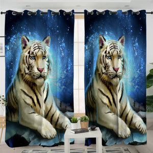 White Tiger Azure 2 Panel Curtains