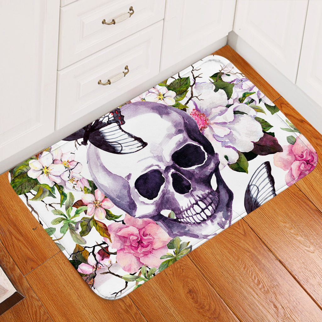 Skull & Flowers Door Mat
