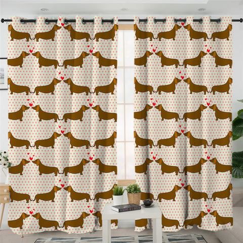 Image of I Love Dachshund Themed 2 Panel Curtains