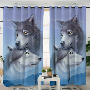 3D Tamed Wolfs 2 Panel Curtains