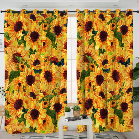 Image of Sunflower Themed SWKL2034 2 Panel Curtains