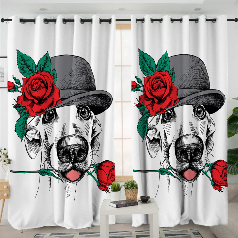 Flower Dog 2 Panel Curtains