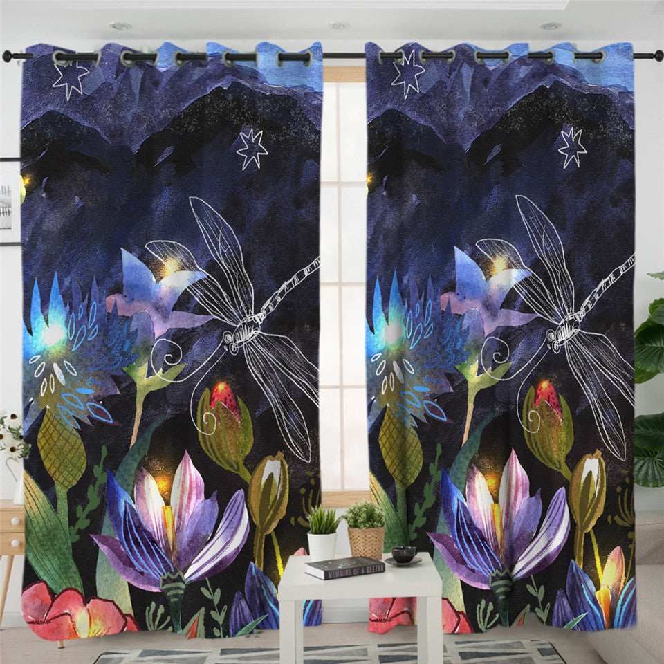 Noctural Dragonfly 2 Panel Curtains