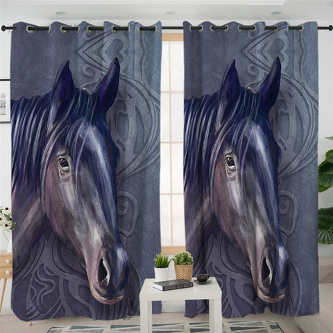 Image of 3D Horse Dark 2 Panel Curtains