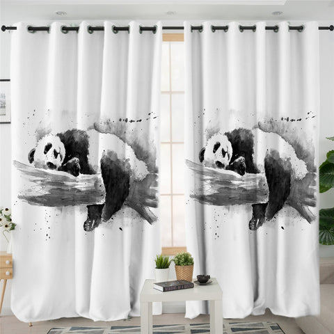 Image of 3D Panda Snooze 2 Panel Curtains