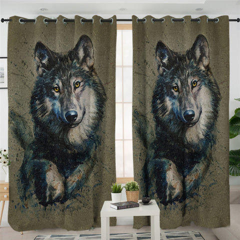 Image of Wolf Portrait 2 Panel Curtains