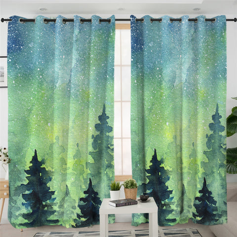Image of Night Sky Green Forest Themed 2 Panel Curtains