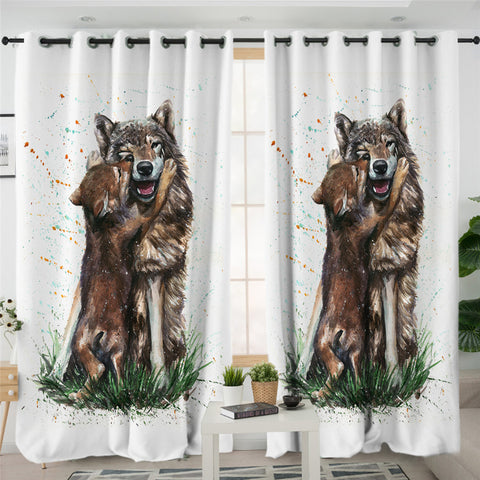 Image of Wolf Love 2 Panel Curtains