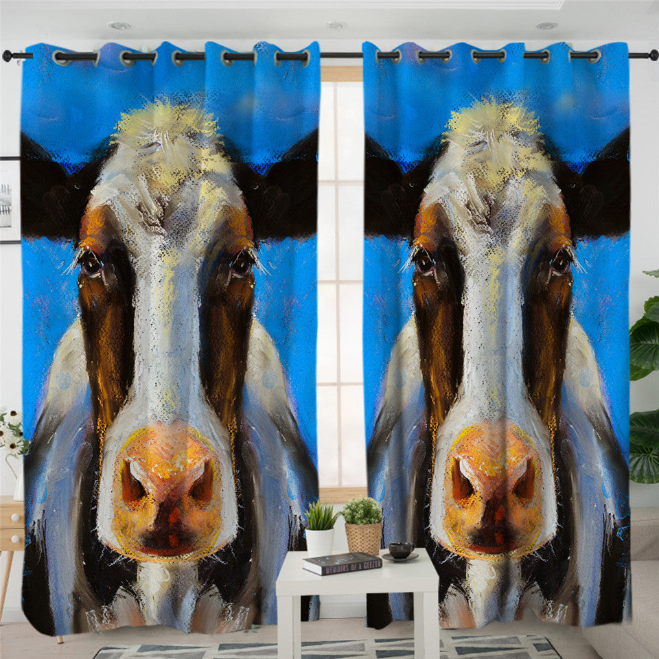 Oilpainted Cow Mugshot 2 Panel Curtains