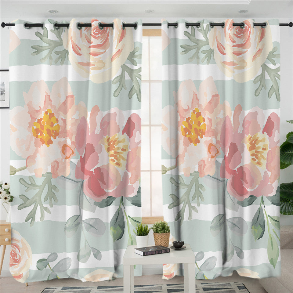 Light Watercolor Flower 2 Panel Curtains