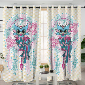 Gaudy Owl Dream Catcher 2 Panel Curtains