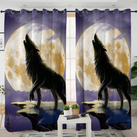 Lone Wolf & The Moon 2 Panel Curtains