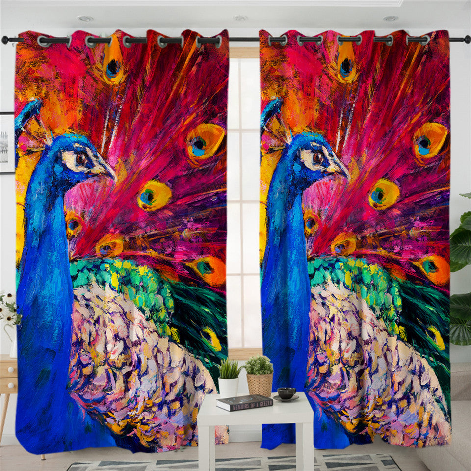 Oilpainted Peacock 2 Panel Curtains
