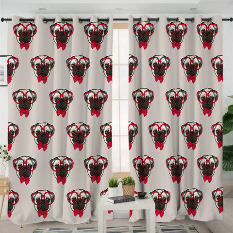 Red Pug Themed 2 Panel Curtains