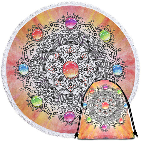 Image of Gemstone Mandala Round Beach Towel Set - Beddingify