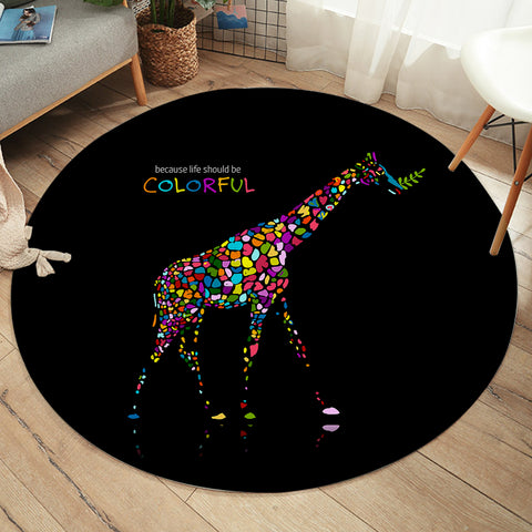 Colorful Giraffe SW2189 Round Rug