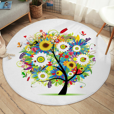 Image of Festive Tree SW2466 Round Rug