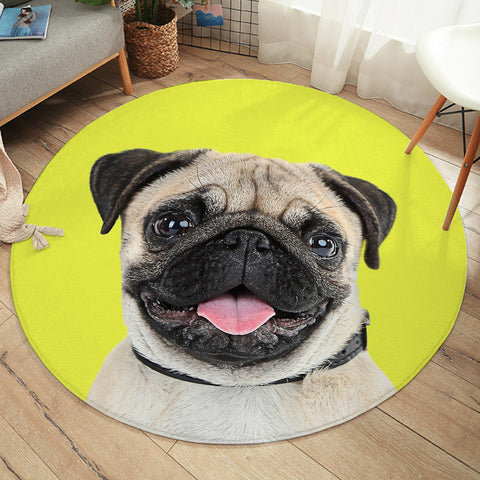 Image of Cute Pug SW2406 Round Rug