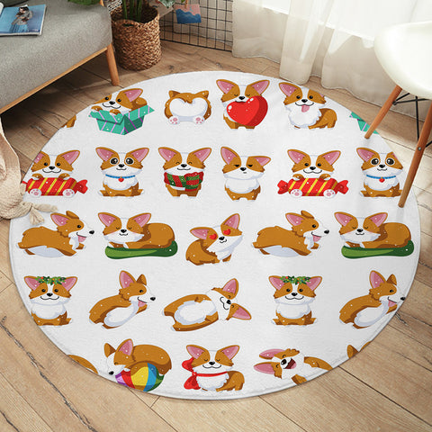 Image of Cute Corgi SW2169 Round Rug
