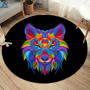 Multicolored Wolf SW2086 Round Rug