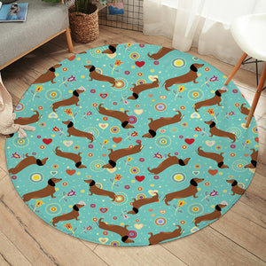 Dachshund Patterns SW2489 Round Rug