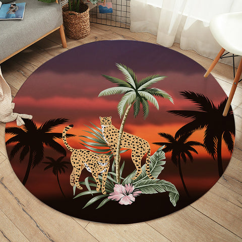Image of Sunset Leopards SW2513 Round Rug