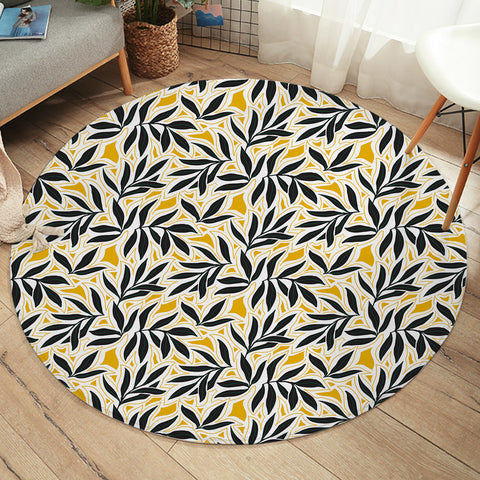 Black Leaves SW2246 Round Rug