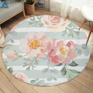 Watercolored Flower SW2409 Round Rug
