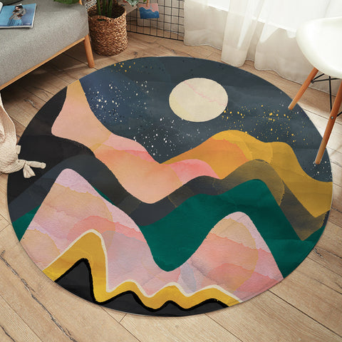 Moon & Mountains SW2386 Round Rug