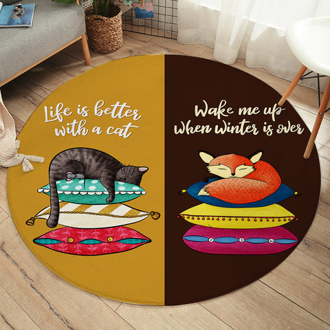 Cat Hibernation SW2399 Round Rug