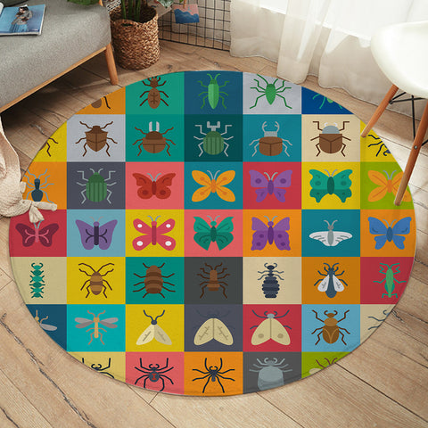 Image of Insect Boxes SW2329 Round Rug