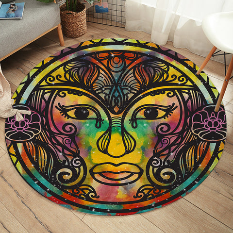 Image of God Face SW2389 Round Rug