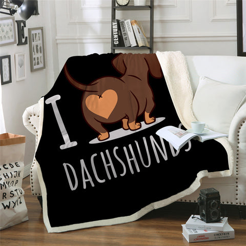 I Love Dachshund Sherpa Fleece Blanket - Beddingify