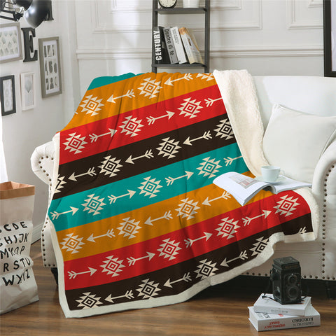 African Colorful Arrow Sherpa Fleece Blanket