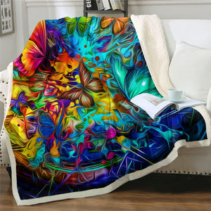 Hippie Butterfly Sherpa Fleece Blanket