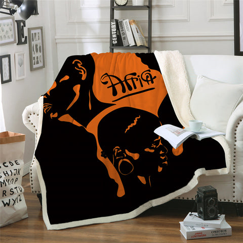 African Themed Sherpa Fleece Blanket