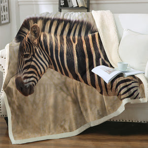 3D Zebra Sherpa Fleece Blanket
