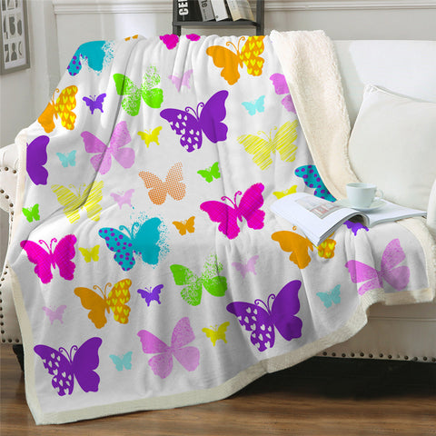 Adorable Butterflies Themed Sherpa Fleece Blanket
