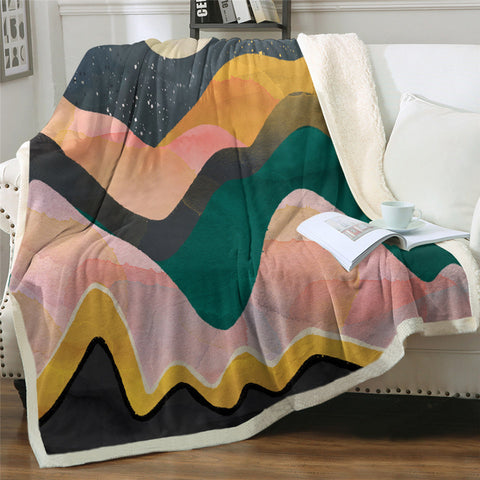 Abstract Mountain Sherpa Fleece Blanket