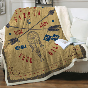 Native Dream Catcher Themed Sherpa Fleece Blanket