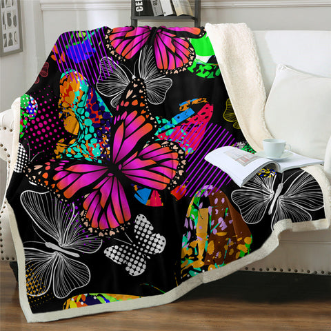 Image of 3D Butterflies Themed Sherpa Fleece Blanket