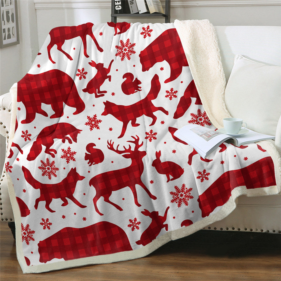 Christmassy Animal Shadows Sherpa Fleece Blanket