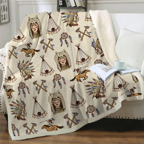 Native Symbols Sherpa Fleece Blanket